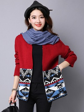 Ericdress Multicolor Cardigan Casual Knitwear
