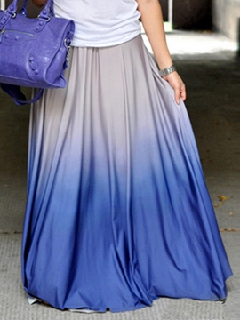 Ericdress Gradient Pleated Tie-Dye Maxi Skirt