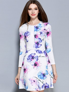 Ericdress Stylelines Floral Patchwork Casual Dress