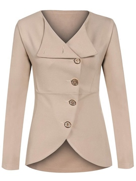 Ericdress Single-Breasted Turn-Down Solid Color Blazer