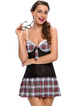 Ericdress Sexy Color Block Plaid Student Cosplay Costume