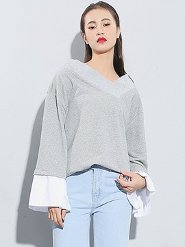 Ericdress Casual Loose Patchwork Hoodie