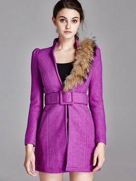 Ericdress Slim Faux Fur Collar Asymmetric Coat