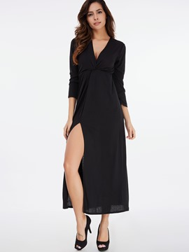 Ericdress Large V-Neck Split Pleated Maxi Dress