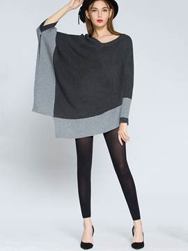 Ericdress Caped Color Block Knitwear