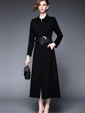 Ericdress OL Button Belt Lapel Sheath Dress