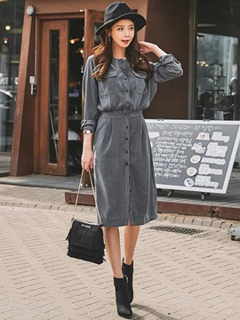 Ericdress Neckless Pocket Patchwork Belt-Tied Button Sheath Dress