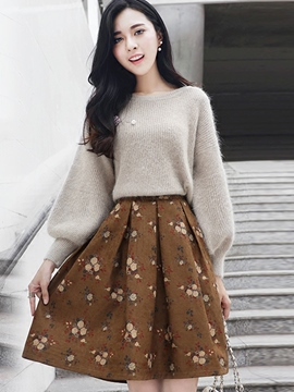Ericdress Pleated Floral Print Sweater Skirt Suit