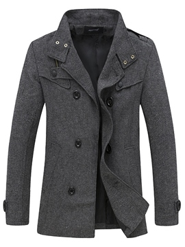 Ericdress Stand Collar Double-Breasted Men's Woolen Coat