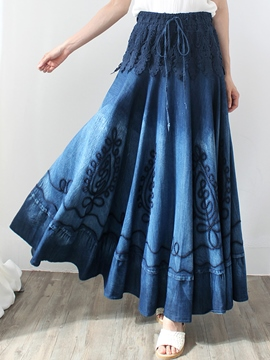 Ericdress Pleated Hollow Embroidery Lace-Up Denim Skirt