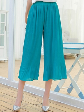 Ericdress Ruffles Chiffon Loose Wide Legs Pants