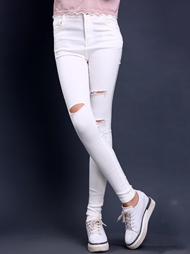 Ericdress Solid Color Holes High-Waist Skinny Jeans
