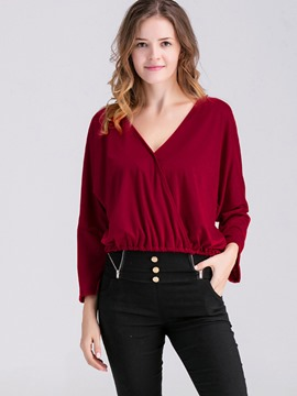 Ericdress V-Neck Pleated Blouse