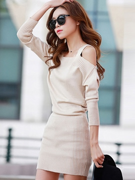 Ericdress Spaghetti Strap Off-The-Shoulder Knitting Sweater Dress