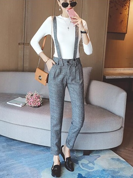 Ericdress Suspenders Pocket Slim Jumpsuits Pants