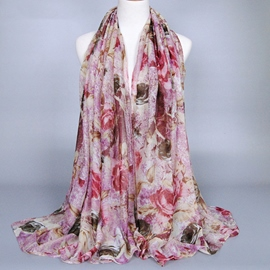 Ericdress Voile Rose Printed Women's Scarf