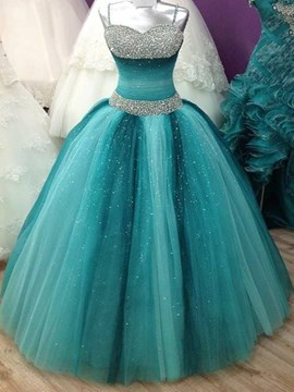 Ericdress Shinny Straps Beaded Lace Up Ball Gown Quinceanera Dress
