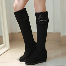 Ericdress Fashion Suede Elevator Heel Thigh High Boots
