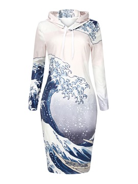 Ericdress Hooded Lace-Up Wave Cut Print Sheath Dress