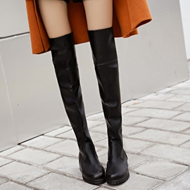 Ericdress Round Toe PU Thigh High Boots
