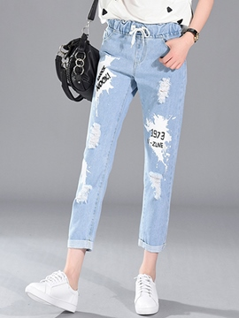 Ericdress Worn Holes Lace-Up Loose Jeans