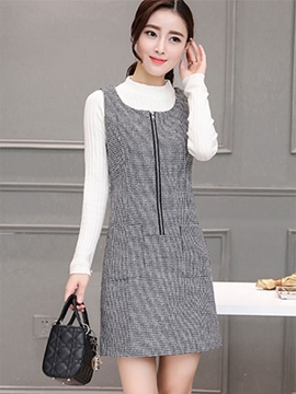 Ericdress Korean Zipper Spaghetti Strap Sheath Dress