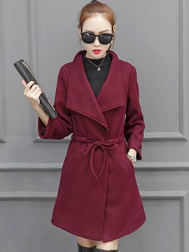 Ericdress Lace-Up Turn-Down Solid Color Coat