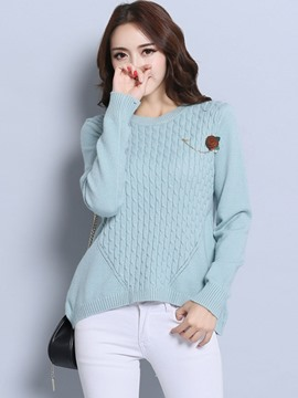 Ericdress Multiplecolor Appliques Pullover Knitwear