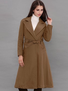 Ericdress Solid Color Slim Wae Cut Coat