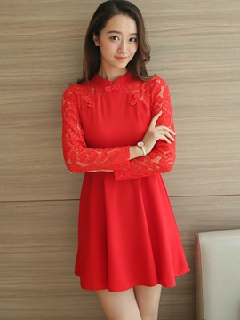 Ericdress Lace Patchwork Mandarin Collar Button Casual Dress
