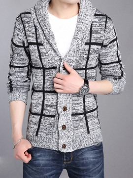 Ericdress Single-Breasted Cardigan Plaid Casual Men's Knitwear