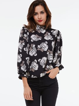 Ericdress Turtle Neck Floral Print Blouse