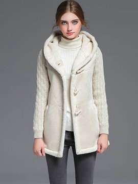 Ericdress Color Block Horn-Button Fleece Coat