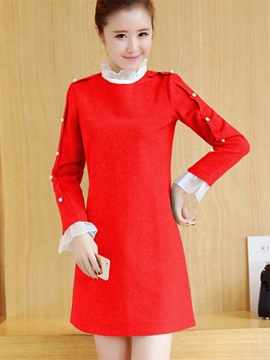 Ericdress Ruffled Collar Bead Patchwork Long Sleeve Casual Dress