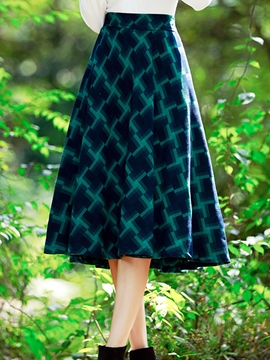 Ericdress Plaid Print Pleated Expansion Maxi Skirt