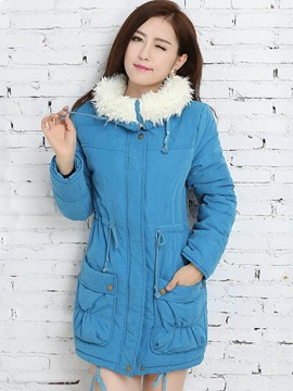 Ericdress Solid Color Slim Fleece Coat