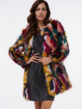 Ericdress Loose Color Block Faux Fur Coat