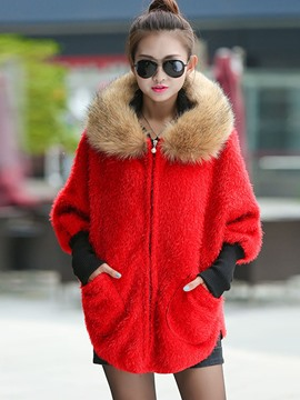 Ericdress Fur Collar Batwing Sleeve Knitwear