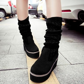 Ericdress Kintting Patchwork Platform Knee High Boots