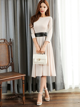 Ericdress Elegant Belt Pleated Knee-Length Casual Dress