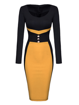 Ericdress Round Neck Color Block Decorative Buttons Sheath Dress