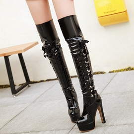 Ericdress Chic Patent Leather Platform Ultra High Thigh High Boots