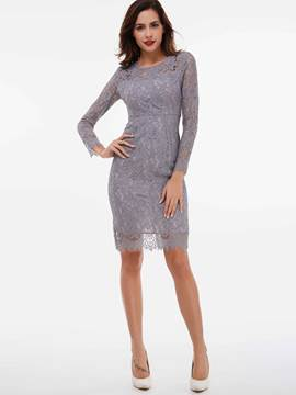 Ericdress Hollow Slim Split Above Knee Lace Dress
