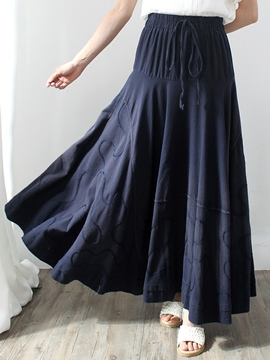Ericdress Stripe Print Pleated Lace-Up Expansion Maxi Skirt