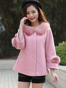 Ericdress Loose One-Button Faux Fur Collar Coat
