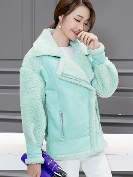 Ericdress Turn-Down Solid Color Fleece Coat
