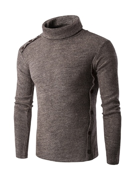 Ericdress Turtleneck Button Pullover Men's Sweater