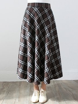 Ericdress Vintage Plaid Print Expansion Maxi Skirt