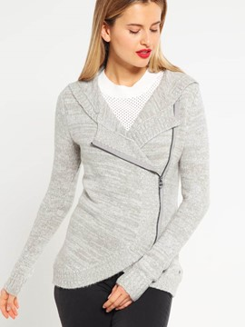 Ericdress Hood Mottled Side Zipper Knitwear