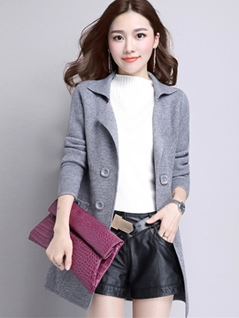 Ericdress Solid Color Double-Breasted Casual Trench Coat